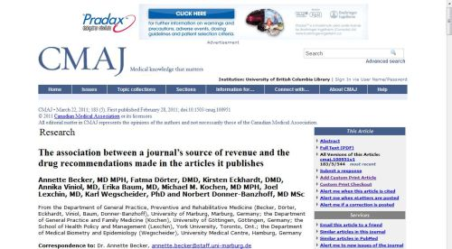 Drug company banner ad no CMAJ article about drug advertising correlating with biased articles in medical journals